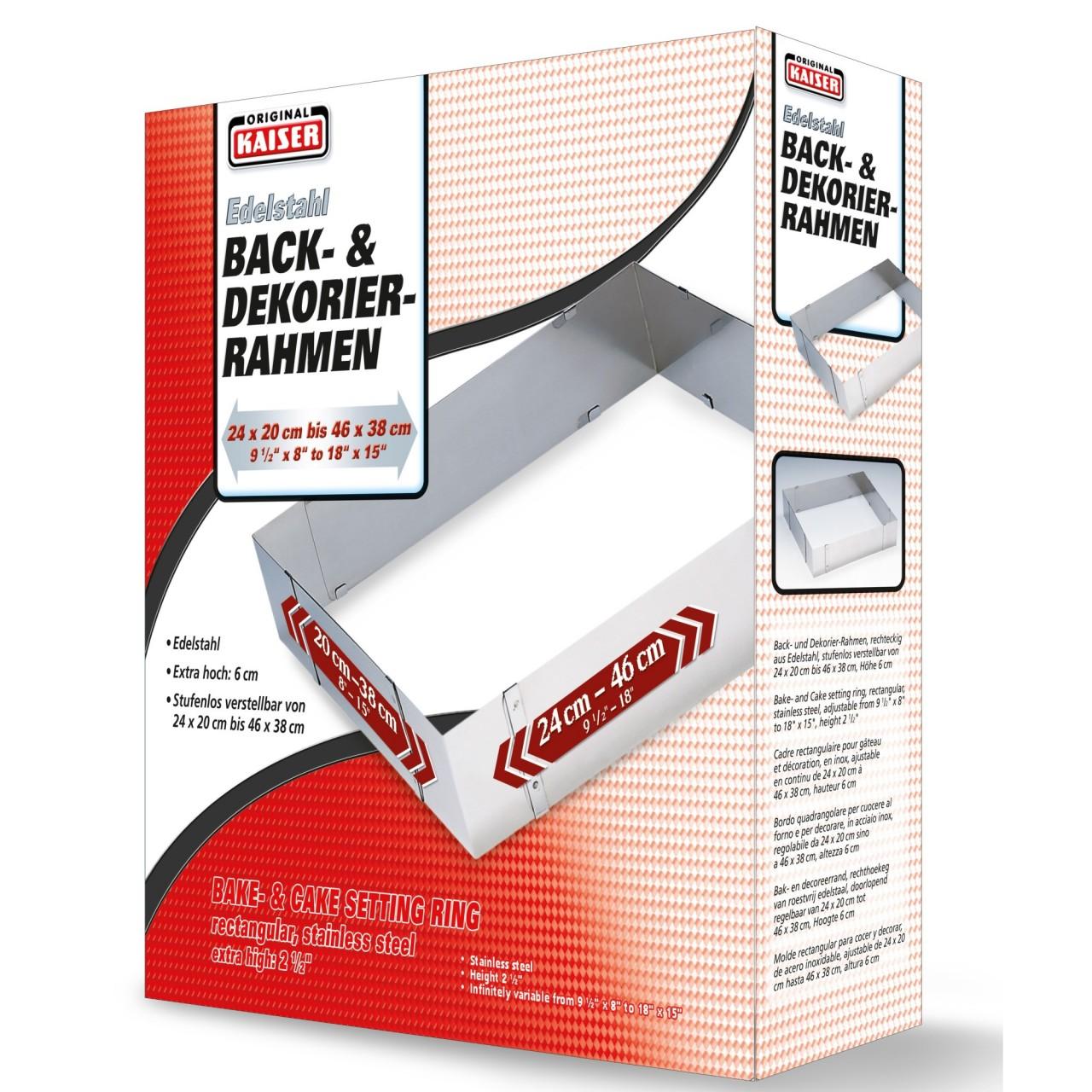 KAISER Edelstahl Backrahmen verstellbar von 24 x 20 bis 46 x 38 cm ...