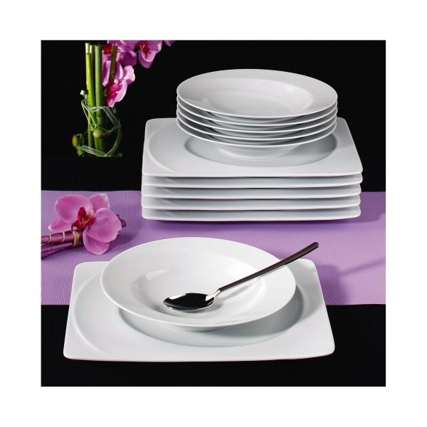 seltmann weiden paso tafelservice 12 teilig i eckig tafelservice porzellan essen trinken. Black Bedroom Furniture Sets. Home Design Ideas
