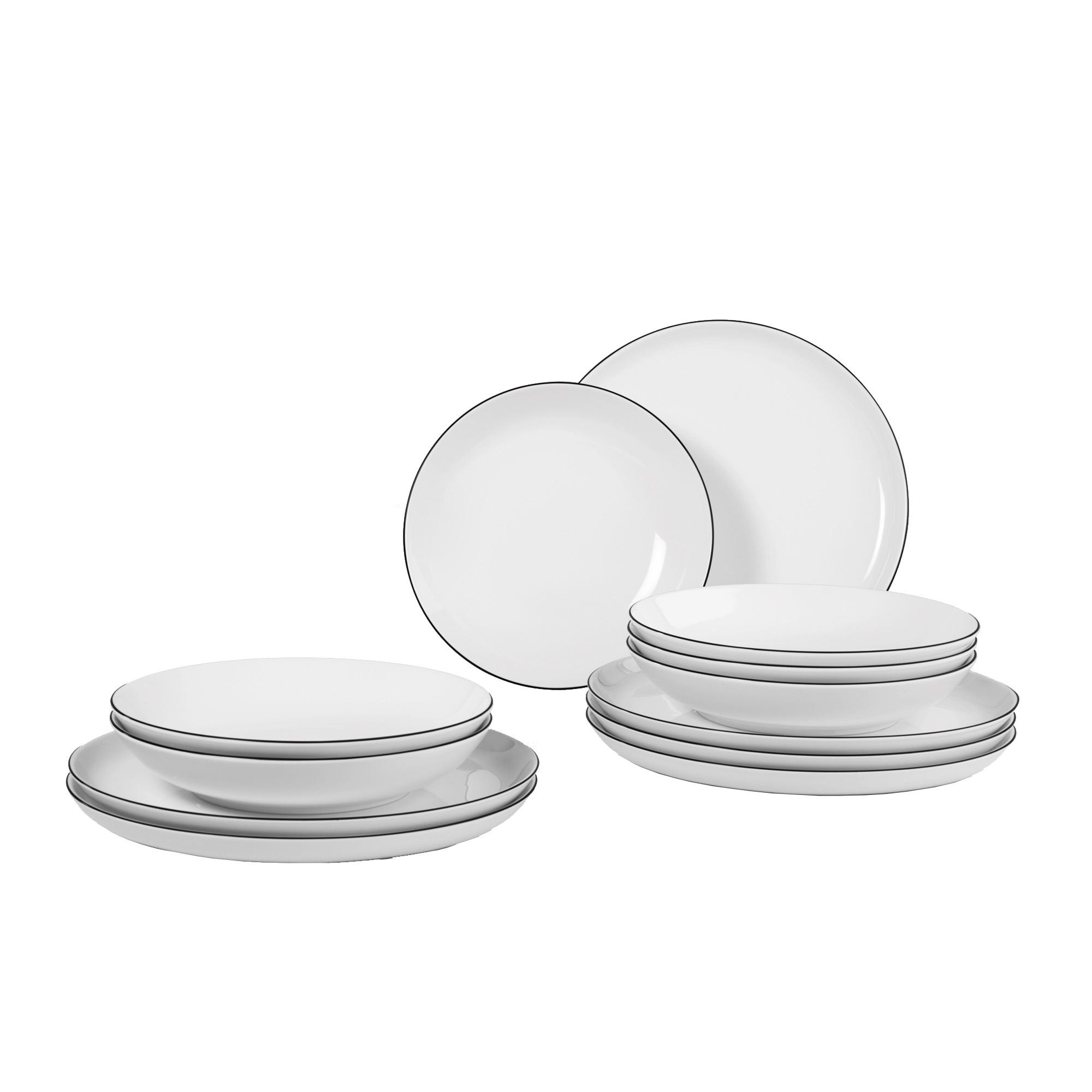 seltmann weiden lido tafelservice 12 teilig 10826 black line tafelservice porzellan essen. Black Bedroom Furniture Sets. Home Design Ideas