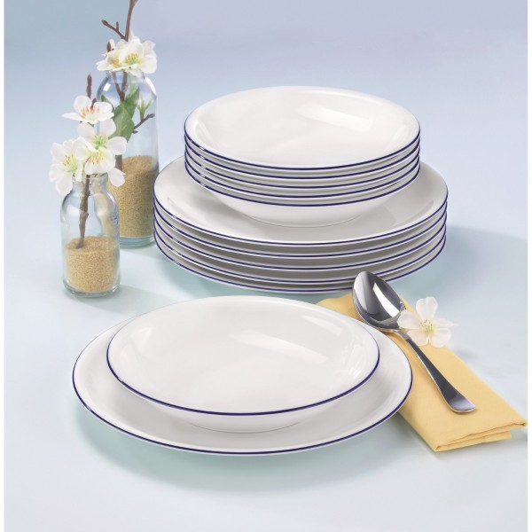 seltmann weiden compact tafelservice 12 teilig 10795 blaurand tafelservice porzellan essen. Black Bedroom Furniture Sets. Home Design Ideas